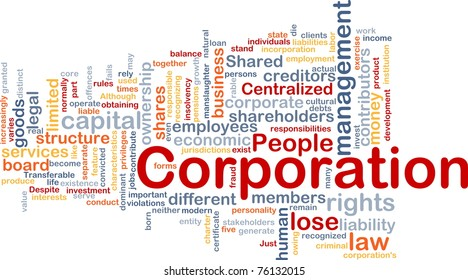 Background concept wordcloud illustration of corporation