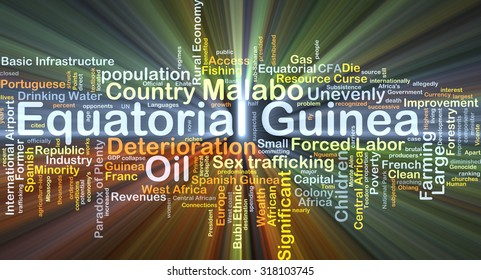 Background concept wordcloud illustration of Equatorial Guinea glowing light