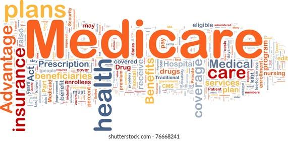 Background concept wordcloud illustration of medicare