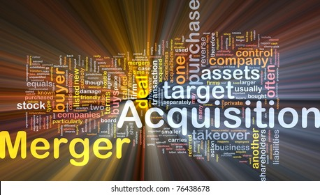 Background concept wordcloud illustration of merger acquisition glowing light