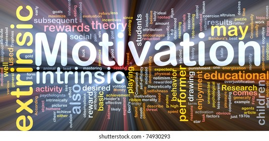 Background concept wordcloud illustration of motivation glowing light
