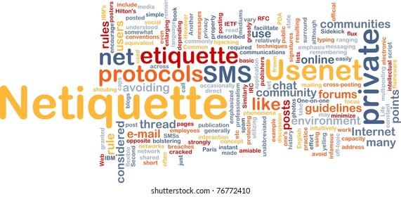 Background concept wordcloud illustration of netiquette