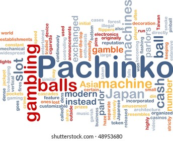 Background concept wordcloud illustration of pachinko japanese gambling