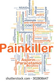 Background concept wordcloud illustration of painkiller