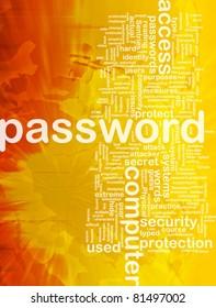 Background concept wordcloud illustration of password international