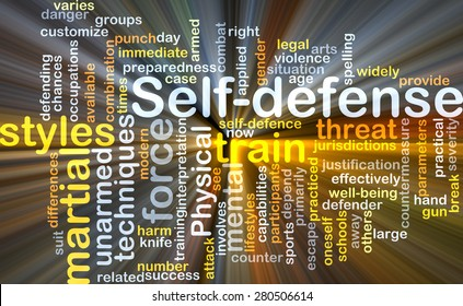 Background concept wordcloud illustration of self-defense glowing light