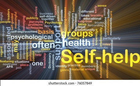 Background concept wordcloud illustration of self-help glowing light