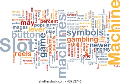 Background concept wordcloud illustration of slot machine gambling
