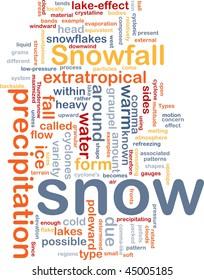 Background concept wordcloud illustration of snow precipitation snowfall