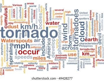 Background concept wordcloud illustration of tornado storm weather