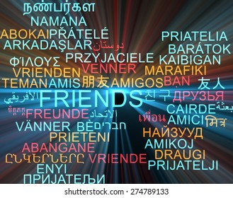 Background concept wordcloud multilanguage international many language illustration of friends glowing light