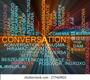 Background concept wordcloud multilanguage international many language illustration of conversation glowing light