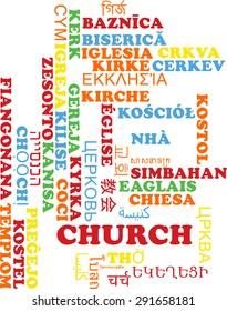 Background concept wordcloud multilanguage international many language illustration of church