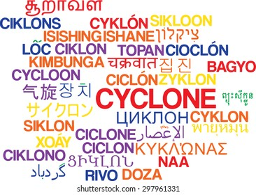Background concept wordcloud multilanguage international many language illustration of cyclone storm