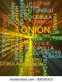 Background concept wordcloud multilanguage international many language illustration of onion glowing light
