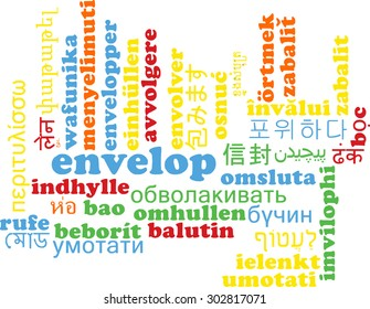 Background concept wordcloud multilanguage international many language illustration of envelop