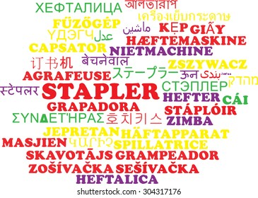 Background concept wordcloud multilanguage international many language illustration of stapler