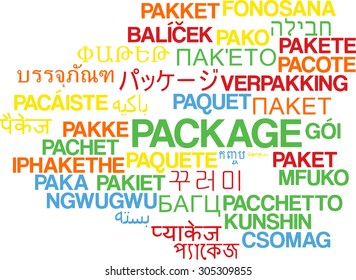 Background concept wordcloud multilanguage international many language illustration of package