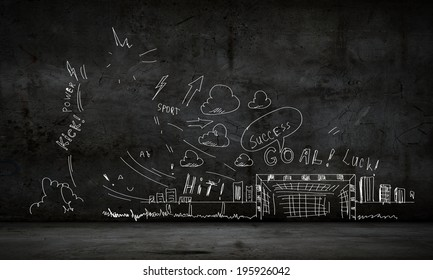 Background conceptual image with football sketches on dark background