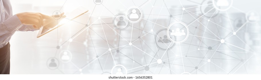 Background conceptual image with social connection lines on panoramic fone.