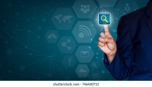 Background Connected Technology pressed with finger Business