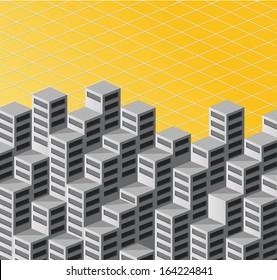 The background consists of isometric  houses