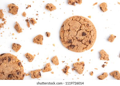 Background with cookies. Flat lay. Top view.