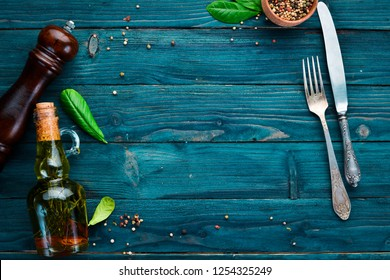 The background of cooking. Kitchen wooden board. Top view. Free space for your text.