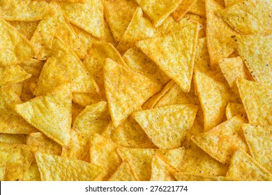 Background of Corn Tortilla Chips or Nachos
