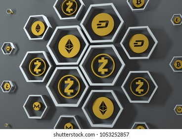 Background from cryptocurrency icons. 3D rendering