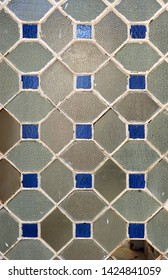Background crystal textures old door of iron and glass rhombuses