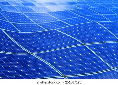 Background of curved photovoltaic cells for renewable energy