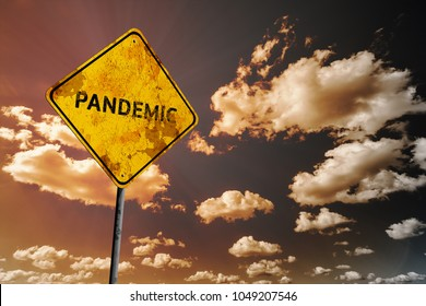 Background of dark blue sky with cumulus clouds and yellow faded road sign with text Pandemic