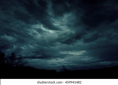 Background of dark sky before a thunder-storm