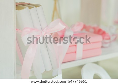 Background Decorations Valentines Day Decoration Books Stock Photo