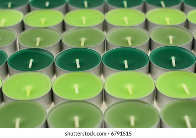 Background from the decorative flavored green candles