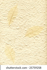 Background with decorative vat paper and three leaves on it
