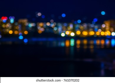 background, defocused lights of the night city