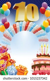 Background with design elements and the birthday cake. The poster or invitation for tenth birthday or anniversary.