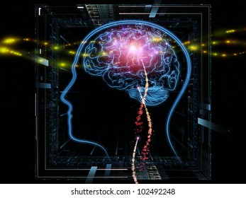 Background design of head outlines, lights and abstract design elements on the subject of intelligence,  consciousness, logical thinking, mental processes and brain power