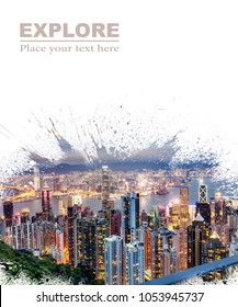Background and design, with a splash effect, with a photograph of the city with skyscrapers and space for text, travel and leisure concept. Suitable for book covers, advertisements, brochures, flyers