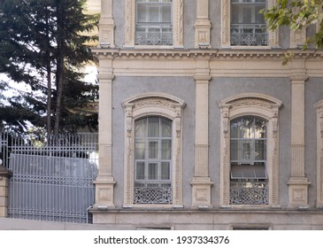 Background for design, texture Walls and windows of antique houses. On the streets in Istanbul, public places.