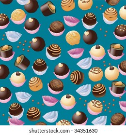 Background with different chocolate sweets isolated on blue