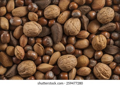 background with different kinds of nuts in shells