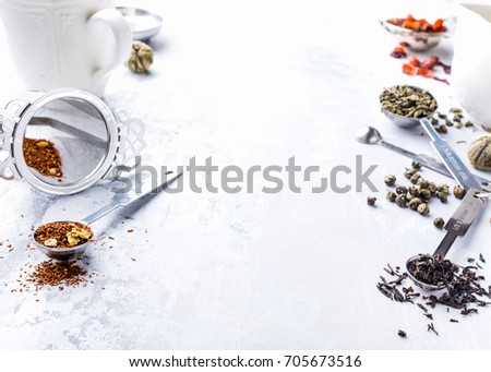 Background Different Types Tea Leaves Black Stock Photo Edit Now
