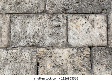 Background of dirty white block wall texture.