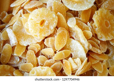 Background with dried fruits - pineapple.