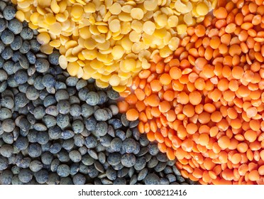 Background of dry lentil different varieties and colors: green french lentils, yellow split, red football, laird