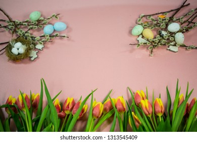 Background for easter, easter nest, catkins, easter eggs, pink background