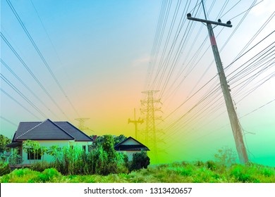 Background of electricity pole system with home, Power electricity distribution line to rural countryside, Concept of energy conservative, Electricity pylon with copy space to use as background